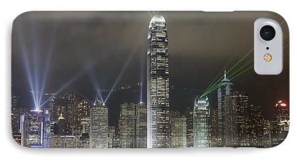 Hong Kong Light Show, At Night, Over Phone Case by Axiom Photographic