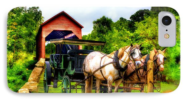 Horse And Buggy In Front Of Covered Bridge Phone Case by Dan Friend