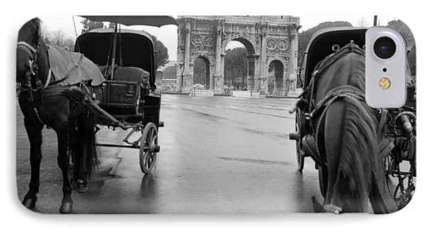 Horse Drawn Carriages In Rome IPhone Case by Emanuel Tanjala