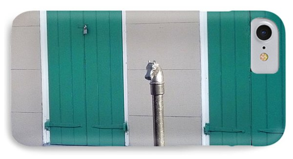 IPhone Case featuring the photograph Horse Head Post With Green Doors by Alys Caviness-Gober