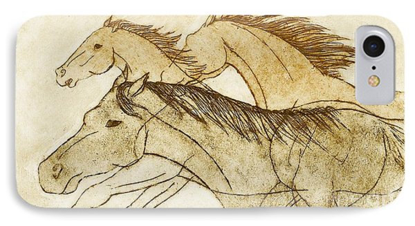 IPhone 7 Case featuring the drawing Horse Sketch by Nareeta Martin