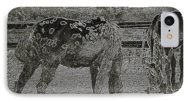Horses Sketch IPhone Case by Manuela Constantin