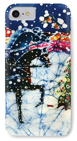 Horses Trot To The Christmas Tree Phone Case by Carol Law Conklin