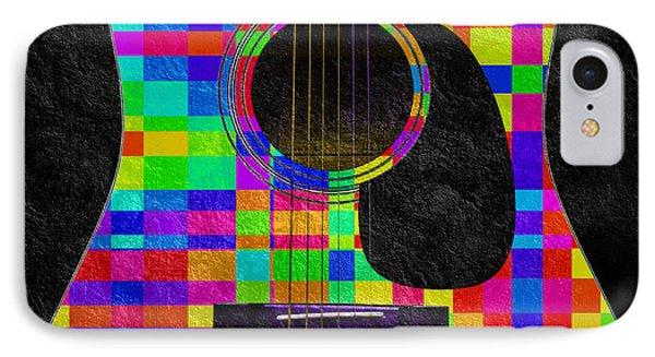 Hour Glass Guitar Random Rainbow Squares IPhone Case