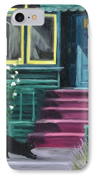 House With A Blue Door  IPhone Case by Laura Iverson