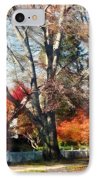 House With Picket Fence In Autumn Phone Case by Susan Savad