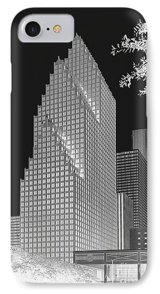 Houston Skyline - Kodak Film Bw Solarized IPhone Case by Connie Fox