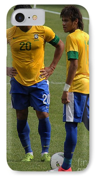 Hulk And Neymar Ready For The Shot IPhone Case by Lee Dos Santos