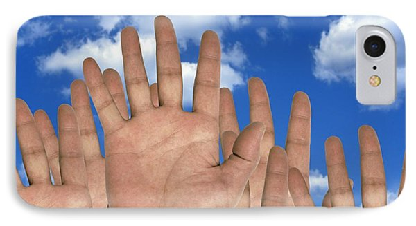 Human Hands And The Sky, Conceptual Image Phone Case by Victor De Schwanberg