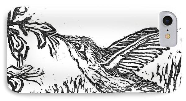Hummingbird  Block Print Phone Case by Ellen Miffitt