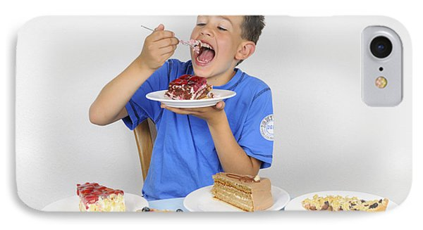 Hungry Boy Eating Lot Of Cake Phone Case by Matthias Hauser
