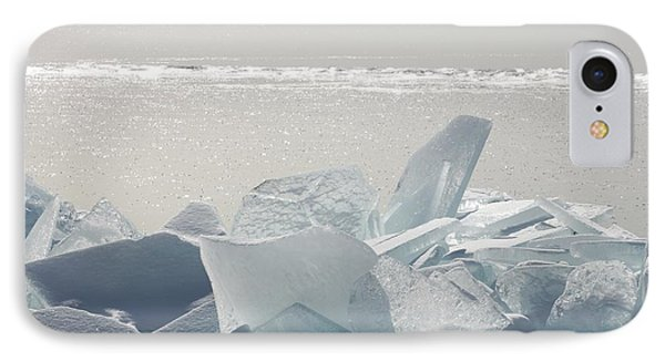 Ice Chunks On The Shores Of Lake Phone Case by Susan Dykstra