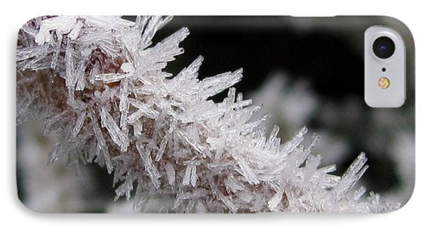 Ice Crystal Formation Along A Twig IPhone Case by J McCombie