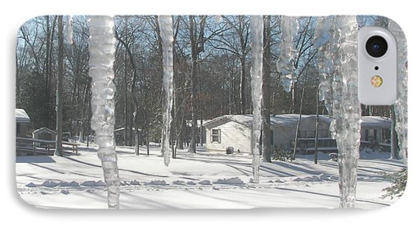IPhone Case featuring the photograph Icicles Through The Window Glass by Pamela Hyde Wilson
