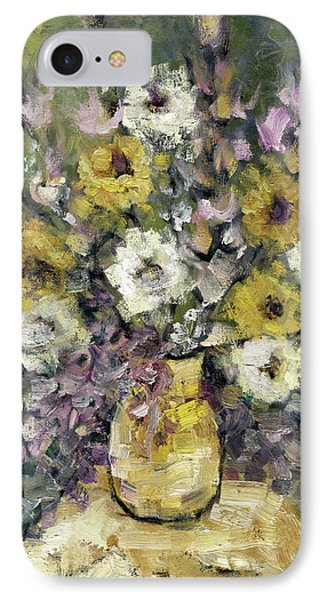 Impression Of Flowers Bouquet Yellow Vase On White Table Purple Flowers Green Background Stained   Phone Case by Rachel Hershkovitz