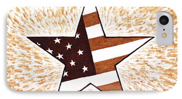 Independence Day Star Usa Flag Coffee Painting Phone Case by Georgeta  Blanaru