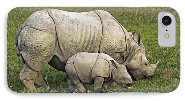 Indian Rhinoceroses IPhone Case by Tony Camacho