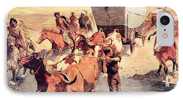 Indians Attacking A Pioneer Wagon Train IPhone Case by Frederic Remington