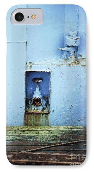 IPhone Case featuring the photograph Industrial Detail In Turquoise Blue by Agnieszka Kubica