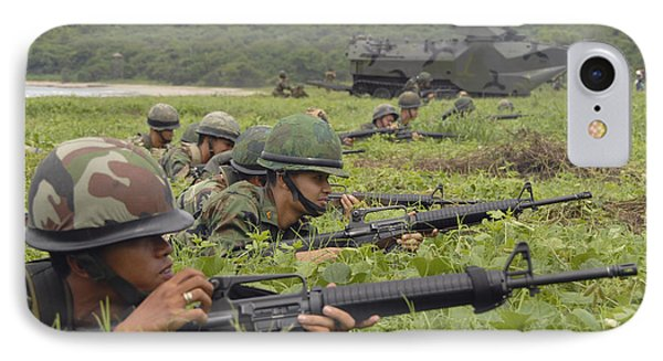 Infantrymen With The Royal Thai Marines IPhone Case by Stocktrek Images