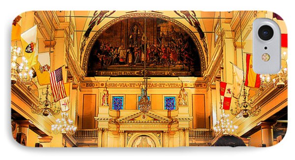 Inside St Louis Cathedral Jackson Square French Quarter New Orleans Ink Outlines Digital Art Phone Case by Shawn O'Brien