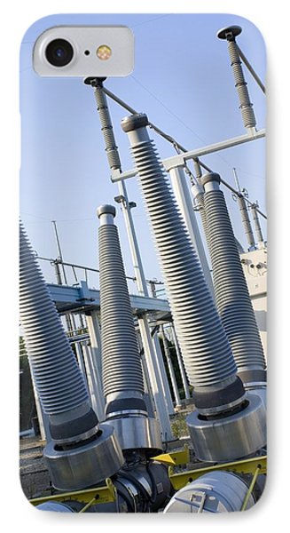 Insulators At Electricity Substation Phone Case by Mark Williamson