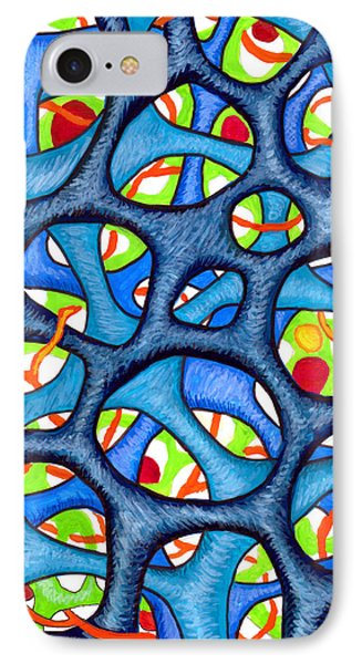 Interconnection In Blue IPhone Case by Nancy Mueller