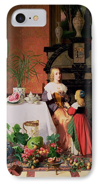 Interior With Figures And Fruit IPhone Case by David Emil Joseph de Noter