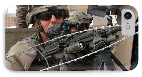 Iraqi And U.s. Soldiers Patrol The Al Phone Case by Stocktrek Images