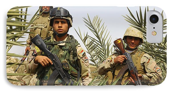 Iraqi Soldiers Conduct A Foot Patrol Phone Case by Stocktrek Images