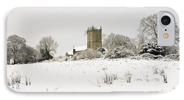 Ireland Winter Landscape With Church Phone Case by Peter McCabe