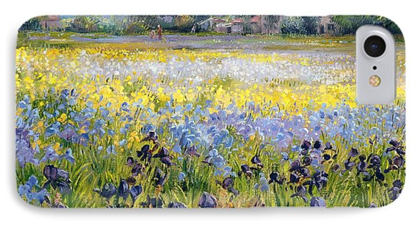 Irises And Two Fir Trees Phone Case by Timothy Easton