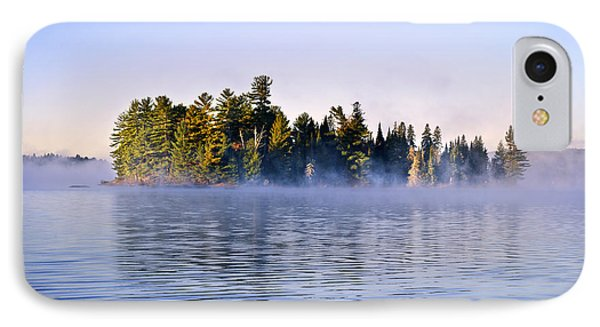 Island In Lake With Morning Fog Phone Case by Elena Elisseeva