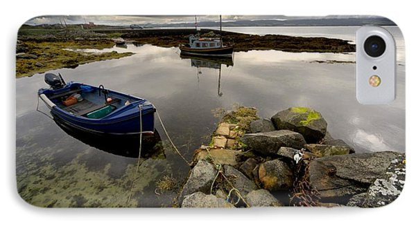 Islay, Scotland Two Boats Anchored By A Phone Case by John Short