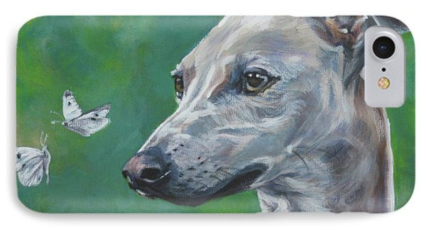 Italian Greyhound With Cabbage White Butterflies IPhone Case by Lee Ann Shepard