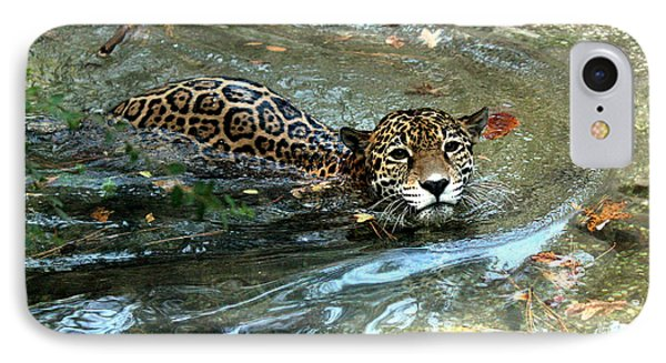 IPhone Case featuring the photograph Jaguar In For A Swim by Kathy  White