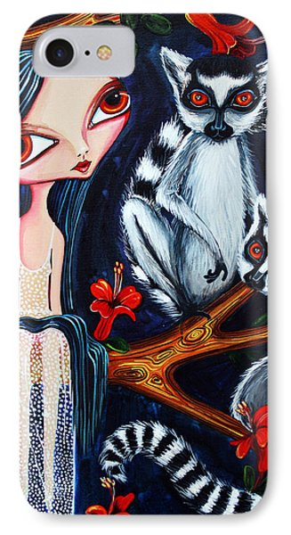 IPhone Case featuring the painting Jane And The Lemurs by Leanne Wilkes