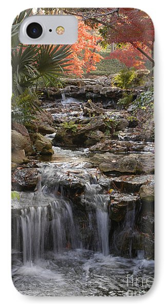 Waterfall In The Japanese Gardens, Ft. Worth, Texas IPhone Case