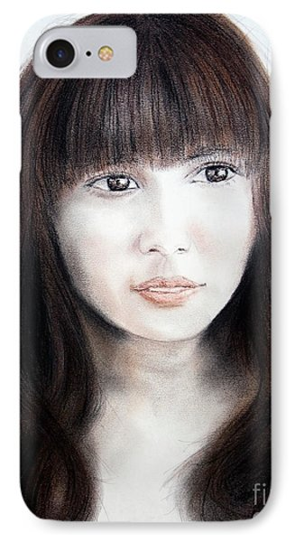 Japanese Girl With Bangs Phone Case by Jim Fitzpatrick