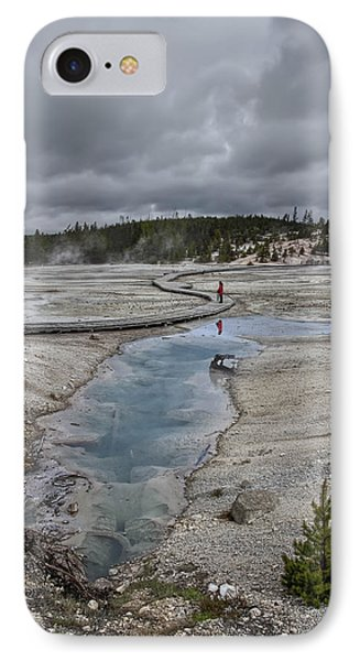 Japanese Woman With Umbrella At Norris Geyser Basin Phone Case by Daniel Hagerman