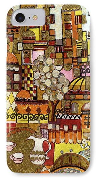 Jerusalem Alleys Tall 5  In Red Yellow Brown Orange Green And White Abstract Skyline Landscape   IPhone Case