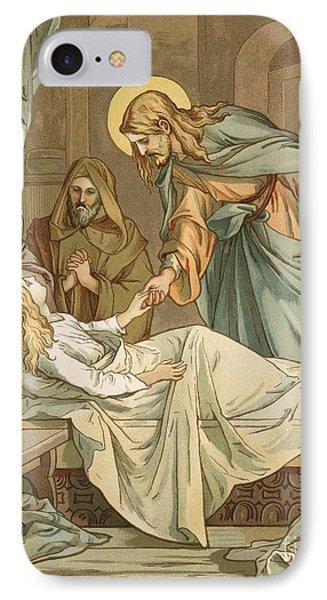 Jesus Raising Jairus's Daughter Phone Case by John Lawson