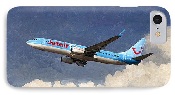 IPhone Case featuring the painting Jetairfly Boeing 737 by Nop Briex
