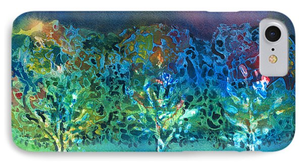 IPhone Case featuring the mixed media Jeweled Trees by Arline Wagner