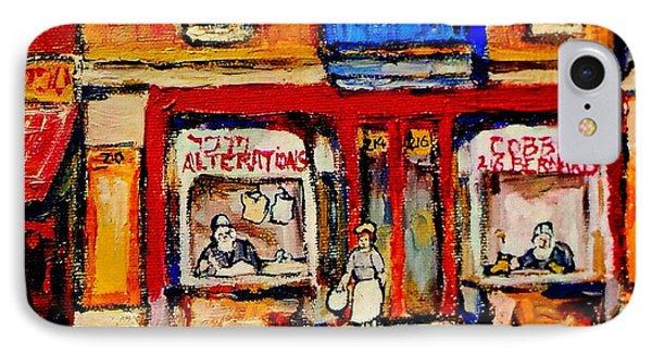 Jewish Montreal Vintage City Scenes De Bullion Street Cobbler Phone Case by Carole Spandau