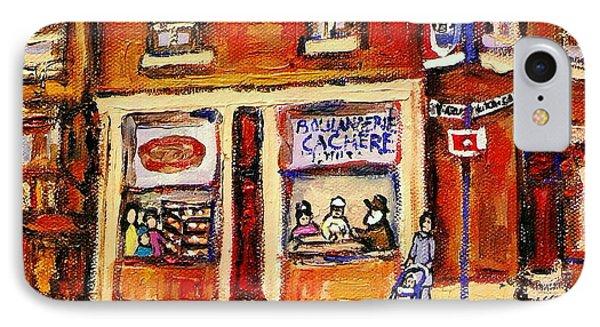 Jewish Montreal Vintage City Scenes Hutchison Street Butcher Shop  Phone Case by Carole Spandau