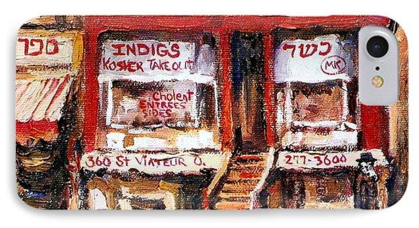 Jewish Montreal Vintage City Scenes Indigs Kosher Butcher Phone Case by Carole Spandau