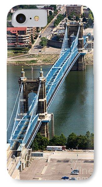 John A. Roebling Bridge Cincinnati Ohio IPhone Case by Paul Velgos