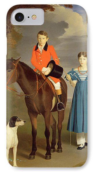 John Gubbins Newton And His Sister Mary IPhone Case by Robert Burnard