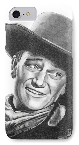 IPhone Case featuring the drawing John Wayne   Dreamer by Marianne NANA Betts